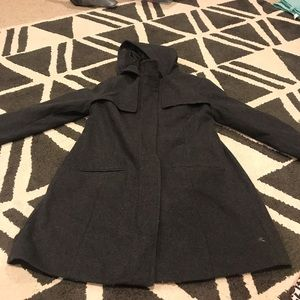 Gray wool coat with hood sz S